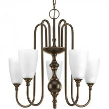 Progress P4235-20 - Five-light chandelier finished in antique bronze with etched glass.