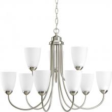 Progress P4627-09EBWB - Nine Light Brushed Nickel Etched Glass Up Chandelier
