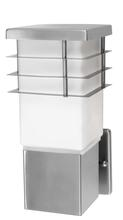 Eglo 86391A - 1x60W Outdoor Wall Light w/ Stainless Steel Finish & Opal Frosted Glass