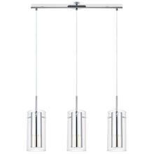 Eglo 91327A - 3X50W Multi Light Pendant w/ Chrome Finish & Interior Chrome Cylinder Surrounded By Clear Glass