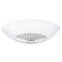 Eglo 92712A - 3x75W Ceiling Light w/ Chrome Finish & White Coated Glass w/ Clear Crystals