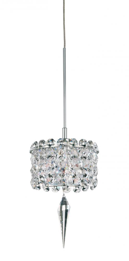 Matrix 1 Light 110V Pendant in Stainless Steel with Clear Spectra Crystal