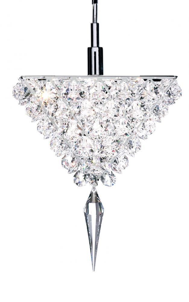 Vertex 1 Light 110V Pendant in Stainless Steel with Clear Spectra Crystal
