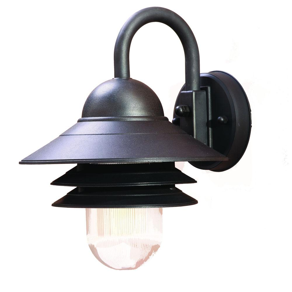 Mariner Collection Wall-Mount 1-Light Outdoor Matte Black Light Fixture