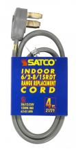 Satco Products Inc. 93/5036 - 4 ft. - 3 Wire 6-2 - 8-1 SRDT Gray Flat 50A/125V-250V 12,500W 12 Indoor Use Only