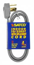 Satco Products Inc. 93/5039 - 4 ft. - 3 Wire 10-3 SRDT Gray Flat 30A/125V-250V 7,500W 12 Indoor Use Only