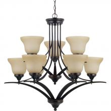 Sea Gull 31175BLE-710 - Fluorescent Brockton Nine Light Chandelier in Burnt Sienna with Amber Scavo Glass
