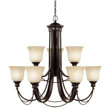 Sea Gull 31498BLE-710 - Fluorescent Park West Nine Light Chandelier in Burnt Sienna with Cafe Tint Glass