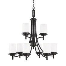 Sea Gull 31662BLE-839 - Fluorescent Winnetka Nine Light Chandelier in Blacksmith with Satin Etched Glass