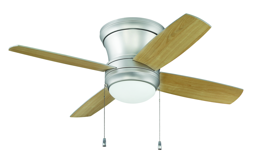"Laval 52"" Hugger Ceiling Fan with Blades and Light in Brushed Pewter"