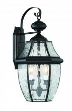 Lighting One US V13-NYW8411K - Newberry Water Glass Large Wall Lantern in Mystic Black