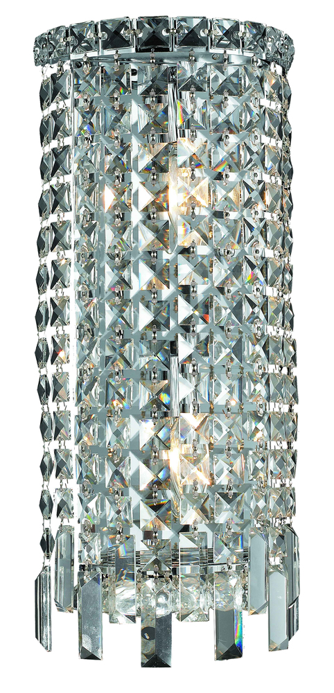 Maxime 2 Light Chrome Wall Sconce Clear Swarovski Elements Crystal
