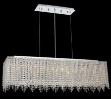 Elegant 1391D46C-CL/RC - 1391 Moda Collection Hanging FixtureL46in W9.5in H11in Lt:8 Chrome Finish (Royal Cut Crystals)