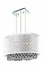 Elegant 1692D17C-CL03/SS - 1692 Moda Collection Hanging Fixture w/ Silver Fabric Shade L17.5in W12.5in H11in Lt:2 Chrome Finish