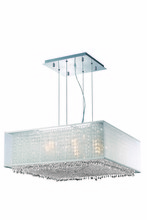 Elegant 1694D26C-CL03/RC - 1694 Moda Collection Hanging Fixture w/ Silver Fabric Shade L26in W26in H11in Lt:9 Chrome Finish  (R