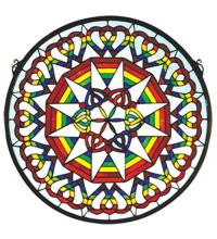 "Meyda Tiffany 51703 - 20""W X 20""H Rainbow Expression Medallion Stained Glass Window"