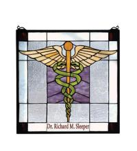 "Meyda Tiffany 79885 - 18""W X 18""H Personalized Medical Stained Glass Window"