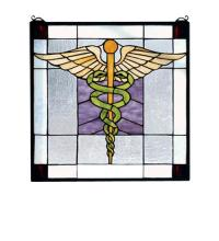 "Meyda Tiffany 81519 - 18""W X 18""H Medical Stained Glass Window"